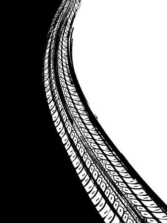 Vector automotive banners template. Grunge tire tracks backgrounds for portrait poster, digital banner, flyer, booklet, brochure and web design. Editable graphic image in black and white colors
