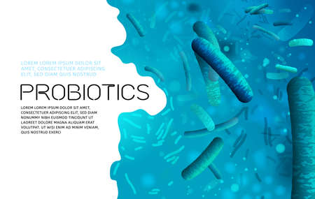 Probiotics, prebiotics. Normal gram-positive anaerobic microflora background. Editable landscape vector illustration in bright blue colors. Realistic style. Medical, healthcare and scientific concept