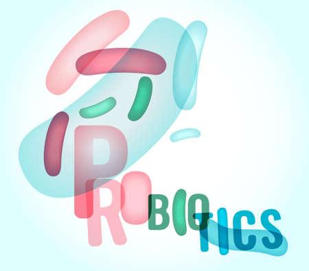 Probiotics and prebiotics. Normal gram-positive anaerobic microflora background. Editable vector illustration in light pastel colors. Transparent style. Medical, healthcare and scientific concept.