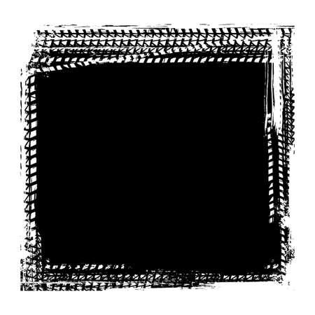 Vector automotive tire tracks frame background. Grunge skid marks backdrop for poster, digital banner, flyer, booklet, brochure, web design. Editable graphic image in black color