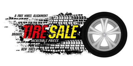 Tire sale out banner template. Grunge tire tracks background for landscape poster, digital banner, flyer, booklet, leaflet design. Editable vector image in bright colors. Horizontal illustration