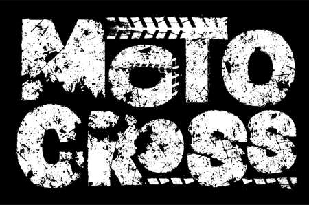 Extreme votocross Off-Road hand drawn grunge lettering. Dust words, unique letters. Beautiful vector illustration. Editable graphic element in white color isolated on black background. Иллюстрация