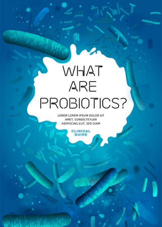 Probiotics, prebiotics. Normal gram-positive anaerobic microflora background. Editable vertical vector illustration in bright blue colors. Realistic style. Medical, healthcare and scientific concept Illustration
