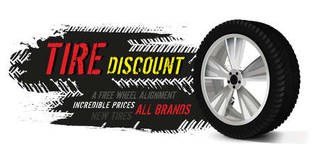 Tire sale out banner template. Grunge tire tracks background for landscape poster, digital banner, flyer, leaflet design. Editable graphic image in bright colors. Horizontal vector illustration Ilustração