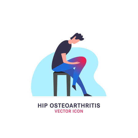 Hip osteoarthritis icon in modern vanguard simplistic style. Knee bones injury. Broken bone sign. Editable vector illustration in bright violet and pink gradient colors. Medical, healthcare concept.