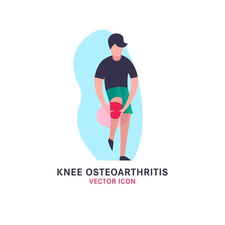 Knee osteoarthritis icon in modern vanguard simplistic style. Knee bones injury. Broken bone sign. Editable vector illustration in bright green and pink gradient colors. Medical, healthcare concept. Vector Illustration