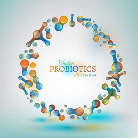 Probiotics and prebiotics. Normal gram-positive anaerobic microflora image. Editable vector illustration in bright colors in unique style. Medical, healthcare and scientific concept.