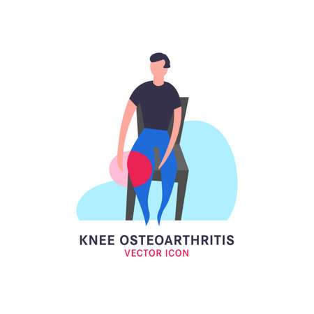 Knee osteoarthritis icon in modern vanguard simplistic style. Knee bones injury. Broken bone sign. Editable vector illustration in bright violet and pink gradient colors. Medical, healthcare concept.