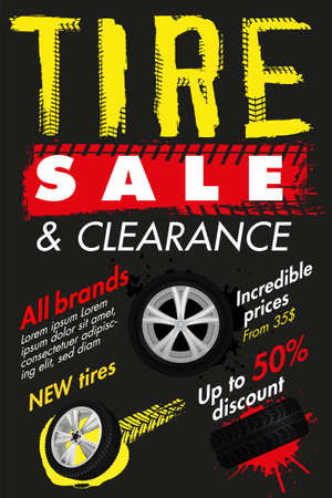 Vector tire sale out banner template. Grunge tire tracks background for vertical poster, digital banner, flyer, booklet, leaflet design. Editable graphic image in grey, white, yellow, red colors