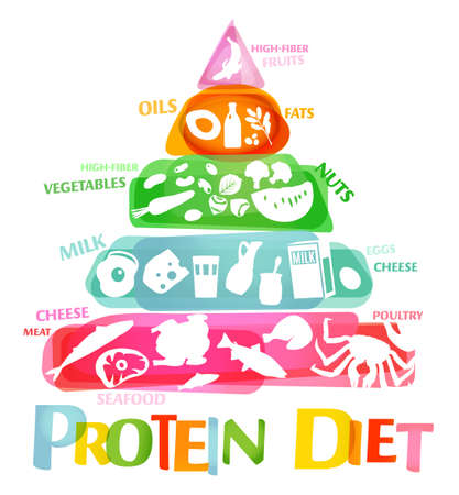 High protein diet vertical poster. Colourful vector illustration with different food types isolated on a white background. Healthy eating chart. Useful infographic