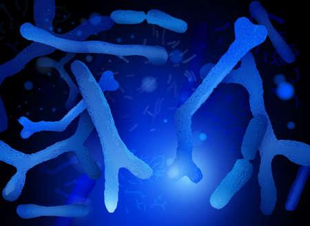 Probiotica en prebiotica. Normale gram-positieve anaërobe microflora achtergrond. Bewerkbare vectorillustratie in heldere blauwe kleuren in realistische stijl. Medisch, gezondheidszorg en wetenschappelijk concept. Vector Illustratie
