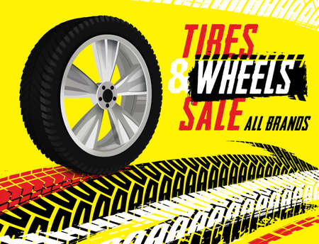 Vector tire sale out banner template. Grunge tire tracks background for landscape poster, digital banner, flyer, booklet, leaflet design. Editable graphic image in back, white, yellow, red colors Banco de Imagens - 123560021