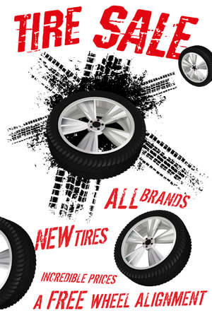 Vector tire sale out banner template. Grunge tire tracks background for vertical poster, digital banner, flyer, advert, leaflet design. Editable graphic image in black, white and red colors
