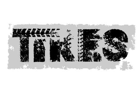 Tires. Off-Road hand drawn grunge moto sport lettering. Tire tracks words from unique letters. Beautiful vector illustration. Editable graphic element in black, grey colors on white background