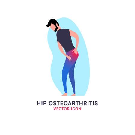 Hip osteoarthritis icon in modern vanguard simplistic style. Hip bones injury. Broken bone sign. Editable vector illustration in bright violet, blue, pink vibrant colors. Medical, healthcare concept.