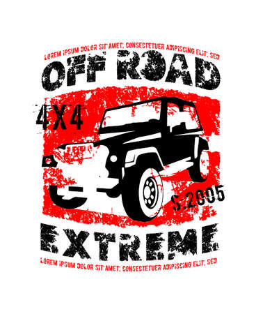 Off-road logo. Extreme competition emblem. Off-roading suv adventure and car club elements. Vector illustration in black, red colors with unique textured lettering isolated on a white background.  イラスト・ベクター素材