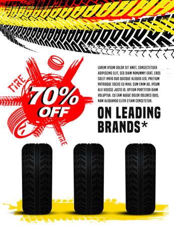 Vector tire sale out banner template. Grunge tire tracks background for vertical poster, digital banner, flyer, advert, leaflet design. Editable graphic image in yellow, white, black, red colors