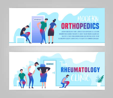Osteoarthritis illustration in modern vanguard simplistic style. Hip and knee bones injury. Orthopedic clinic. Editable vector in bright green, blue, pink colors. Medical, healthcare, science concept.