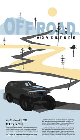 Off-road car banner. Off-roading SUV adventure, extreme competition leaflet and car club advertising. Beautiful vector illustration in light blue and grey colors isolated on a white background.
