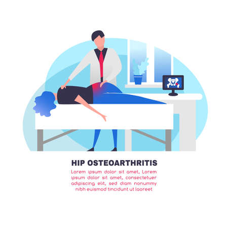 Osteoarthritis illustration in modern vanguard simplistic style. Hip and knee bones injury. Orthopedic clinic. Editable vector in bright violet, blue, pink colors. Medical, healthcare, science concept Çizim