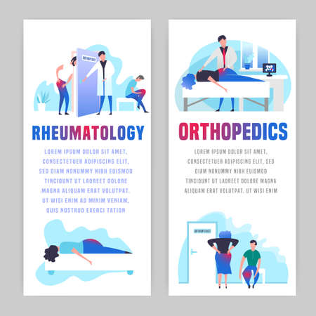 Osteoarthritis illustration in modern vanguard simplistic style. Hip and knee bones injury. Orthopedic clinic. Editable vector in bright violet, blue, pink colors. Medical, healthcare concept.