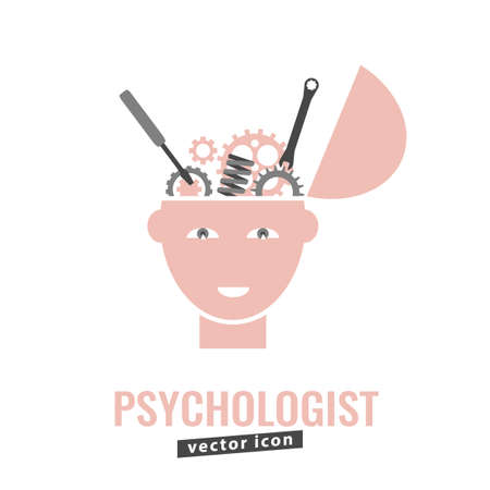Psychologist, psychotherapist icon. Creative concept useful for logotype, pictogram, symbol design. Editable vector illustration in grey and light pink colors. Phycology, Physiology, Psychiatry image