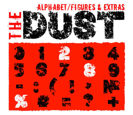 Grunge dust letters. Unique off road lettering with dirty ground texture. Editable vector illustration. Beautiful typography useful for automotive extreme poster, print, leaflet design. Illustration