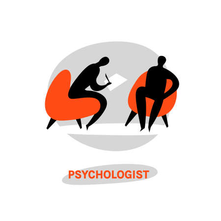 Psychologist, psychotherapist icon. Creative concept useful for logotype, pictogram, symbol design. Editable vector illustration in black, grey, orange colors. Phycology, Physiology, Psychiatry image