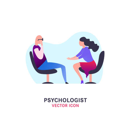 Psychologist, psychotherapist icon. Creative concept useful for logotype, pictogram, symbol design. Editable vector illustration in bright trendy colors. Phycology, Physiology, Psychiatry image Logo