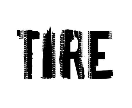 Tire. Off-Road hand drawn grunge moto sport lettering. Tire tracks words from unique letters. Beautiful vector illustration. Editable graphic element in black color isolated on white background