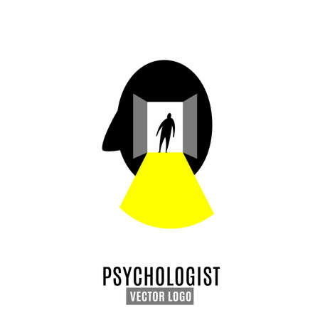 Psychologist, psychotherapist icon. Creative concept useful for logotype, pictogram, symbol design. Editable vector illustration in grey, black, yellow colors. Phycology, Physiology, Psychiatry image