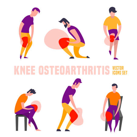 Knee osteoarthritis icons set Illustration