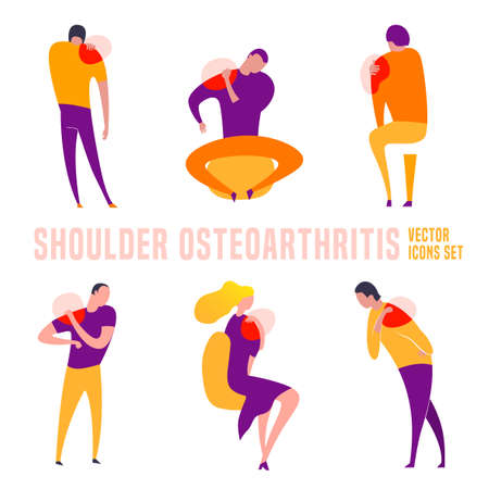 Shoulder Osteoarthritis icons collection Illustration