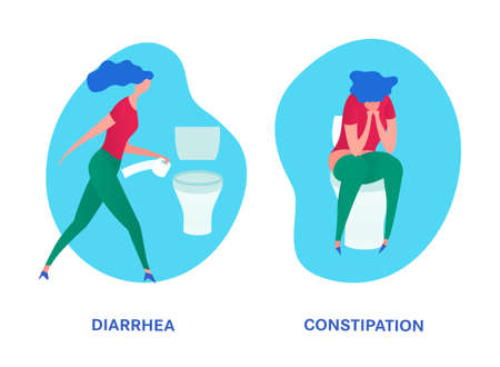 Diarrhea constipation image. Girl sitting in a rest-room. Editable vector illustration in bright blue, pink, green colors isolated on a white background. Medical, digestion, food poisoning concept.