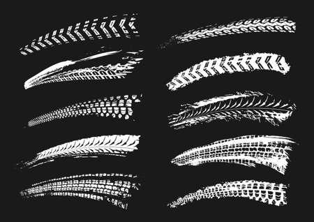 Motorrad-Reifenspuren-Vektor-Illustration. Grunge-Automotive-Element nützlich für Poster, Druck, Flyer, Buch, Broschüre, Broschüre und Broschürendesign. Grafikset in weißer Farbe auf schwarzem Hintergrund.