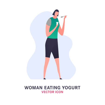 Beautiful standing woman eating yogurt. Editable vector illustration in vibrant green, pink, grey colors isolated on a white background. Digestion, healthy nutrition, useful food concept. 矢量图像