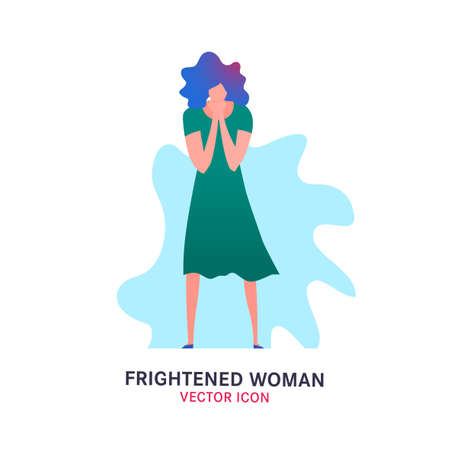 Frightened woman icon