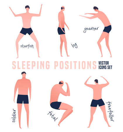 Different sleeping positions. Good night concept. Modern icons in a flat style. Editable vector illustration in bright colors isolated on white background. Pictograms collection. Medical poster