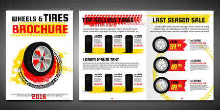Vector automotive brochure template. Grunge tire tracks backgrounds for portrait poster, digital banner, flyer, booklet, banner and web design. Editable graphic image in black, yellow, red colors