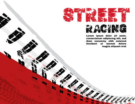 Vector automotive banners template. Grunge tire tracks backgrounds for landscape poster, digital banner, flyer, booklet, brochure and web design. Editable graphic image in black, red, white colors