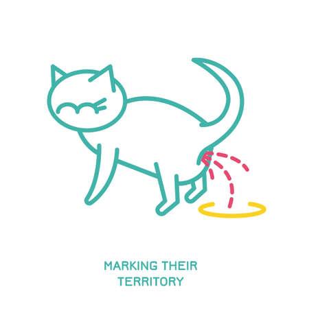 Cat Behavior Icons Illustration