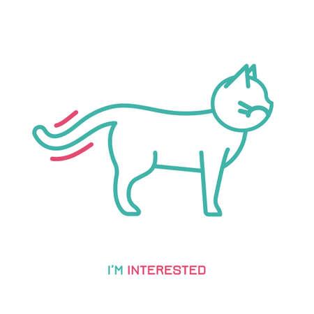Icono de comportamiento del gato. Lenguaje de cola de animal doméstico o mascota. Estoy interesado. Reacción de gatito. Icono simple, símbolo, signo. Ilustración de vector editablel aislado sobre fondo blanco