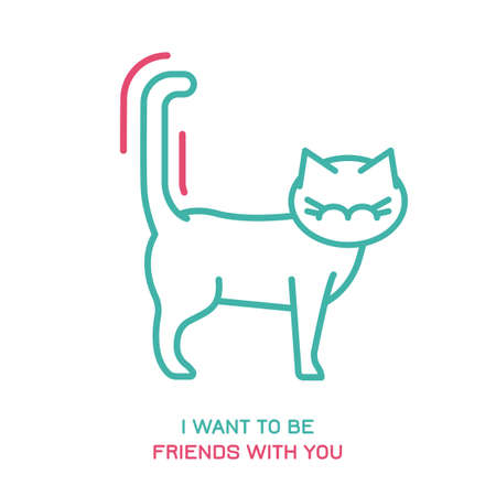 Cat behavior icon. Domestic animal or pet tail language. I want to be friends with you. Kitty reaction. Simple icon, symbol, sign. Editablel vector illustration isolated on white background