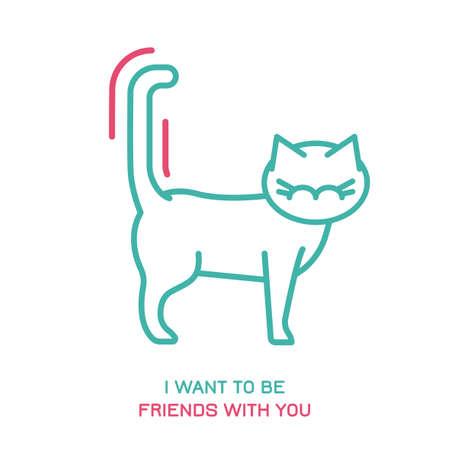 Icono de comportamiento del gato. Lenguaje de cola de animal doméstico o mascota. Quiero ser tu amigo. Reacción de gatito. Icono simple, símbolo, signo. Ilustración de vector editablel aislado sobre fondo blanco