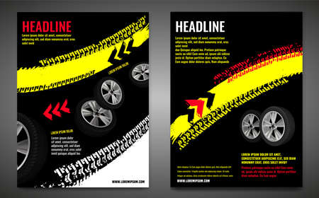 Vector automotive banner template. Grunge tire tracks background for vertical poster, digital banner, flyer, booklet, brochure, web design. Editable graphic image in black, white, yellow colors