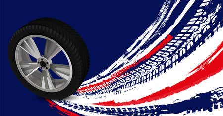 Vector automotive banners template. Grunge tire tracks backgrounds for portrait poster, digital banner, flyer, booklet, brochure and web design. Editable graphic image in blue, red, white colors