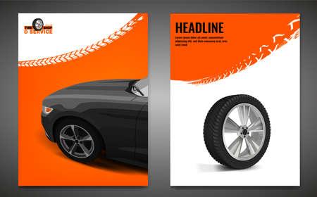 Grunge Tire Poster Set Illusztráció