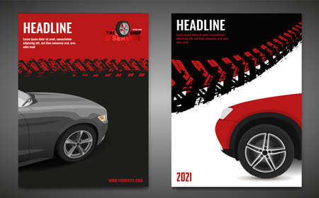 Grunge Tire Poster Set Ilustração