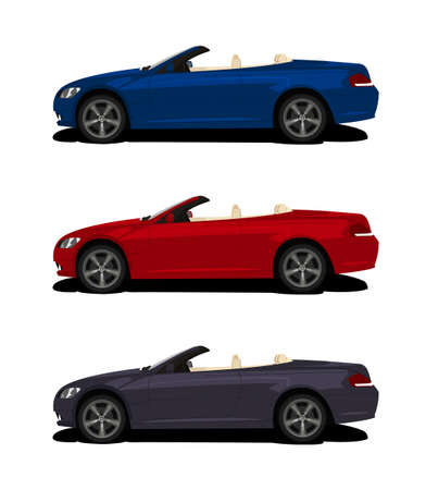 Elegant sport car in classic style isolated on white background. Motorsports concept. Classic vehicle in red, blue grey colors. Summer ride concept. Luxury cabriolet. Editable vector illustration.