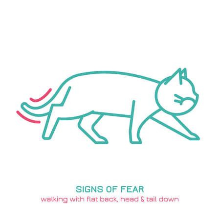 Cat fearful behavior icon Ilustração